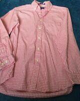 John Ashford Shirt Red Plaid Button Down Long sleeved Sueded Cotton SZ Small Men