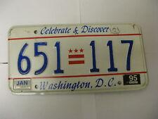 1995 95 Washington DC License Plate 651 117 Natural Sticker