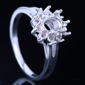 Elegant 5X7mm Oval Silver Fashion Engagement Wedding Semi Mount Fine Ring Sets