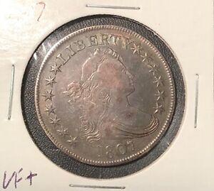 1807 DRAPED BUST HALF DOLLAR. BEAUTIFUL COLOR NICE VERY FINE