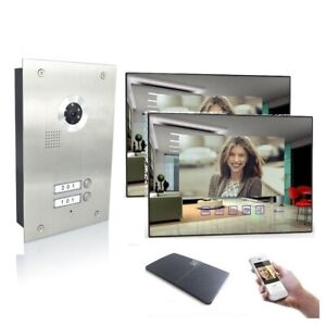 2 Familienhaus Video Türsprechanlage 7'' Monitor Kamera 170° Edelstahl