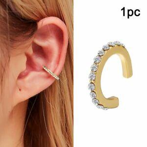 1PC Charm Crystal Clip Ear Cuff Stud Women Men Punk Wrap Cartilage Earring Gift