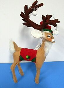 """Annalee Doll 8"""" Traditional Reindeer Christmas 2019 New Tags Hand Painted Face"""