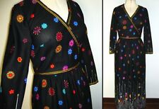 Vintage 1970s Black Gypsy Print Boho Maxi Long Dress Novelty Border Print S 10