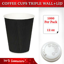 Disposable Coffee Cups+Lids 500 Pcs 12oz Triple Wall Take Away Coffee Cups