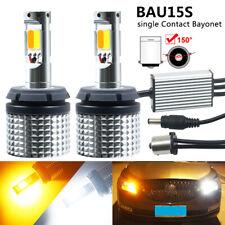 2X 1156 PY21W BAU15S LED CANBUS Amber Turn Signal White Daytime Running Light