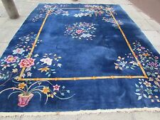 Antique HandMade Art Deco Chinese Oriental Navy Blue Wool Large Carpet 355x277cm