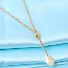 Long Chain Gold Mini Tea Spoon Crown Vintage Necklace SL