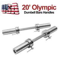 "Olympic 2"" Barbell Solid Dumbbell Weight Lifting Bars With Rotating Sleeves"