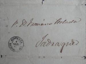 CARTA AÑO 1864 SIGÜENZA GUADALAJARA FECHADOR BONITO A JADRAQUE RARO FECHADOR