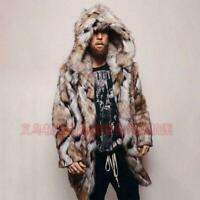 Winter Men's Faux Fox Fur Jacket Parka Hooded Outwear Coat Warm Mid Length @@