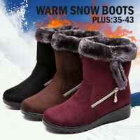 Women's Winter Warm Wedge Heel Ankle Snow Boots Fur Thicken Casual Slip On Shoes