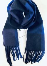 Paul Smith Men Scarf Made In England Cashmere Check Blue