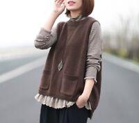 Gilet pull laine Mori retro ancien tricot Shabby chic vintage grande taille