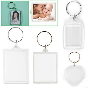 100X Insert Clear Blank Acrylic Plastic Photo Keyrings Personalise heart UK