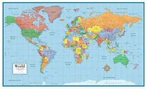 48x78 Huge World Classic Elite Wall Map Front Laminated