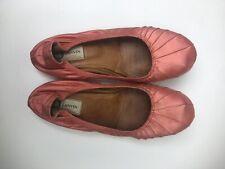 LANVIN Pink Silk And Leather Elasticized Trim Ballerina Ballet Flats Size: US9