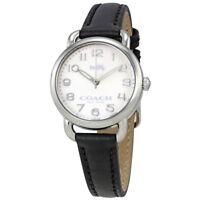 Coach Women's Delancey Watch Black Leather & Silver Case 14502247 $225