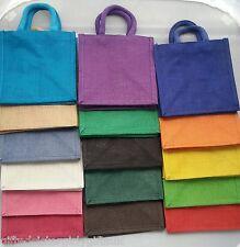 Luxury Plain Jute Gift Lunch Bags - Natural Hessian - Soft handles Choose Colour