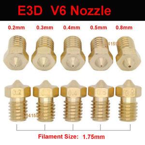 0.2/0.3/0.4/0.5/0.6/0.8/1mm 1.75mm Nozzle Head For E3D-V6 3D Printer Extruder