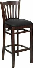 Flash Wood Restaurant Bar Stool, Black, Walnut - XU-DGW0008BARVRT-WAL-BLKV-GG