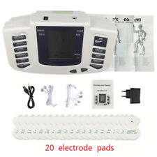 Digital Dual Input EMS Tens Therapy Massage Machine Electro Simulator+20pcs Pads