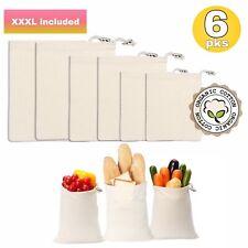 Reusable Produce Bags, Set of 6 XXL  Organic Cotton, Biodegradable   Reusable Gr