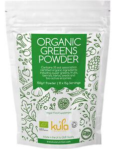 Organic Greens Superfood Powder - 35 Soil Association Certified Ingredients 150g