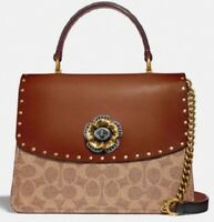 NWT💋 COACH Bolsa Parker Top Handle In Signature Canvas w/ Rivets/Brass Hardware
