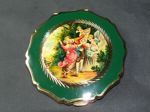 Vintage Stratton Powder Compact - Frogonad's  'The Sermon of Love' green border