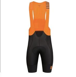 RAPHA MEN'S PRO TEAM BIB SHORTS II - LONG Small Black Orange Used Cycling Bib