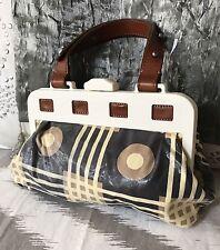 Marni Artistic Fabric Leather Framed Purse Handbag Small Italy