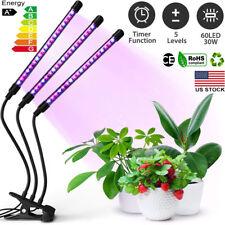 60 LED 3 Head Grow Light Full Spectrum Desk Clip Lamp Indoor Plants Seed Adjust