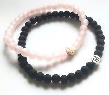 Partnerschmuck 2x schwarz rosé Polarisperlen Name Gift ♥ Buchstaben ♥ Geschenk
