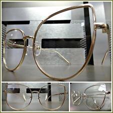 Womens CLASSIC VINTAGE 60s RETRO CAT EYE Style Clear Lens EYE GLASSES Gold Frame