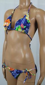 Polo Ralph Lauren Blue Floral Bikini Pink Pony Logo Beads NWT Bottoms