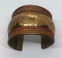 "Vintage Bracelet 7.5"" Cuff Flower Gold Tone Brass"