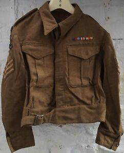 WW2 BRITISH BATTLEDRESS BLOUSE ISSUED 1942 R.E.M.E 52ND LOWLAND WITH PAPERS