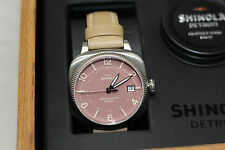 NEW Shinola The Gomelsky Watch, Pink / Silver Face- Light Tan Brown Leather Band
