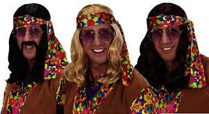 Long Black/Brown/Blonde John Lennon Wig Beatles 60s 70s Fancy Dress Hippy Flower