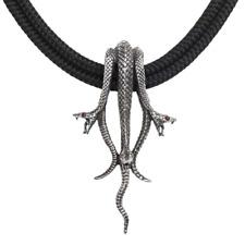 ALCHEMY HYDRA SNAKE NECKLACE Triple Serpent Pendant Pewter Red Swarovski GOTHIC