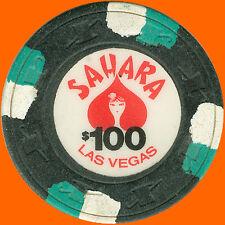 SAHARA $100 1980's OBSOLETE PAULSON CASINO CHIP LAS VEGAS NV - FREE SHIPPING