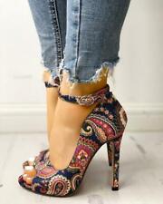 Womens Ladies Floral Printed Ankle Strap High Slim Heels Stilettos Summer Sandal