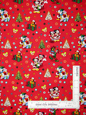 Christmas Disney Minnie Mickey Donald Red Cotton Fabric CP59313 Springs - 1.56Yd