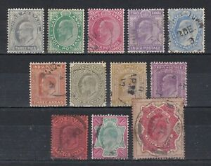 set of 12 used EVII stamps from India. CV £14. 1902