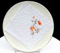 "VICTORIAN GERMAN PORCELAIN OPEN NAPKIN & FLORAL YELLOW 8.25"" CABINET PLATE 1800s"