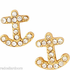 Auth New KATE SPADE Anchors Away Stud Earrings Pave 12K Gold Nautical Sailor