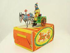 Blechspielzeug - Clown auf Pferdekutsche mit Uhrwerk Made in USSR in OVP tintoy
