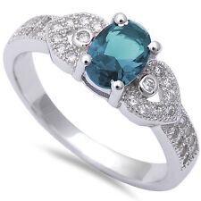 Sapphire, Amethyst, Aquamarine, Emerald, Blue & Pink Topaz CZ Solid Silver Ring