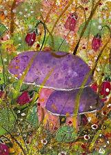 "ACEO ""Purple Mushrooms"" Original Collage & Acrylic Painting, By Hélène Howse"